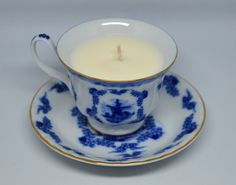 Upcycled Teacup Candle **Blue Windmill - Vegan Vanilla Candle** by FinerySoaps on Etsy