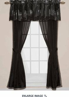 """6 Piece Rosalyn Drapes Black Floral Valance with Black Panel by BEDnLINENS. $27.99. and 2 tiebacks. 6 piece window panel include 2 valance, 2 drapery panels. 6 piece window set in black floral  valance with black sheer curtain  easily match any bedroom   ?Polyester ?Each drapery panel is 42""""W x 84""""L  ?Valance is 54""""W x 18""""L . Tieback is 3"""" x 24"""" ?Dry clean ?Imported"""