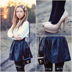 Chicwish Shirt, Zohara Tights, Romwe Skirt, Papilion Shoes