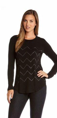 Karen Kane Zig Zag Studded T #Karen_Kane #KarenKane #Black  #Studded #Fashion