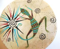 Lizard Totem Spiral Sun Primitive Gourd Frame Drum and Mallet | ConsciousArtStudios - Music/Instruments on ArtFire