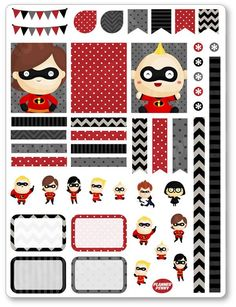 Incredible Family Decorating Kit PDF PRINTABLE Planner Stickers
