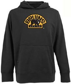 NHL Boston Bruins Signature Hood Long Sleeve Hooded Fleece, Black, Medium by Antigua. $49.99. Please Note: This item is made-upon-order, therefore requires additional processing time, which is reflected in the estimate above. Please Note: The men's garments from this manufacturer tend to run a little large, so if you're between sizes, you should go with the smaller size. Keep warm in one of these 80% cotton/20% polyester fleece long sleeve hooded sweatshirt with ribbed ...