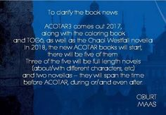 All is the same except the Chaol novella is now a novel and will be out on September 5 2017 and TOG6 will come out in May 2018,as will the TOG world book thingy. ACOWAR will be released on May 2 2017.