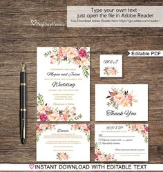 Hey, I found this really awesome Etsy listing at https://www.etsy.com/uk/listing/473055734/floral-wedding-invitation-template-boho