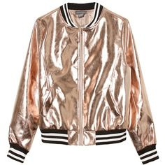 Sans Souci Rose gold metallic vegan leather bomber jacket ($59) ❤ liked on Polyvore featuring outerwear, jackets, tops, coats & jackets, rose gold, lined bomber jacket, blouson jacket, faux leather jacket, metallic jackets and bomber style jacket