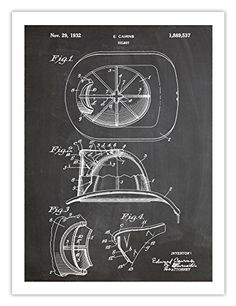 FIREMAN HELMET POSTER BLACKBOARD INVENTION 1932 US PATENT ART RETRO PRINT 18X24 CAIRNS HAT FIRE MAN HEAD GEAR GIFT Steves Poster Store http://www.amazon.com/dp/B016VN1H8I/ref=cm_sw_r_pi_dp_T4Z0wb10TJ557