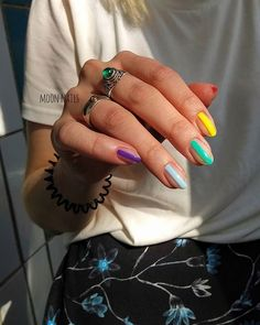 Colorful Nail Art Design ig _moon_nails_ nailart Warning These arent your basic manis.Even now that nail art is a major trend Ive just never wanted to pay the extra money to have the fancy stu Purple Nail, Nails Yellow, Gel Nails, Acrylic Nails, Nail Polish, Coffin Nails, Pastel Nails, Nail Nail, Clear Acrylic