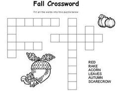 Free Kids Printable Activities: Hard Fall Crossword ...