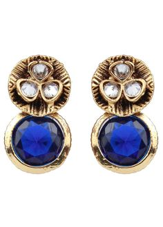 Indian Bollywood Blue Rhine Stone Kundan Floral Stud New Fashion Earrings Women #vidhijewelss #Stud