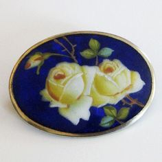 Antique Meyle and Mayer 935 Silver and Enamel Roses Brooch Pin