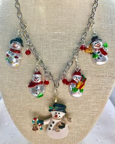 Snowmen Christmas Winter White Red Green Vintage Silver Chain Assemblage Upcycled Necklace Doodaba by doodaba on Etsy Tote Bags Handmade, Handmade Items, Vintage Pink Christmas, Christmas Necklace, Purple Lilac, Christmas Snowman, Snowmen, Vintage Silver, Crystal Beads