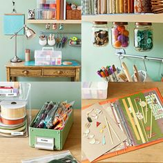 Ideas the working area Craft Organization, Craft Storage, Organizing Tips, Home Office, Sewing Spaces, Ideas Para Organizar, Ideas Geniales, Working Area, Floating Shelves
