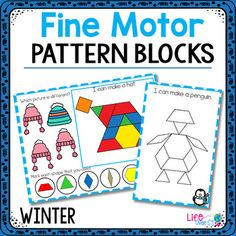 Fine Motor Mats for Winter | Pattern Blocks by Life Over C's and ITeachToo | Teachers Pay Teachers