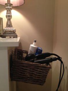 Emma Courtney: DIY Hair Dryer/Straightener Storage Solution - Maybe this could work for me. Curling Iron Storage, Straightener Storage, Hair Dryer Straightener, Hair Dryer Storage, Creative Hairstyles, Diy Hairstyles, Bathroom Organization, Bathroom Ideas, Bathroom Storage
