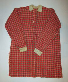 "1860's Mans Hand Woven Wool Red Brown Plaid Work Chore Shirt | eBay; collar & cuffs appear sewn with early chain stitch sewing machine, otherwise hand sewn; shoulder seam to shoulder seam: 20""; top of collar to bottom of shirt: 36""; chest: 50""; waist: 50""; sleeve length seam to bottom of cuff: 24"""