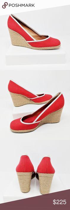 33792957e9a2 SERGIO ROSSI red canvas wedge espadrille shoe SB1 SERGIO ROSSI red canvas  wedge espadrille with white