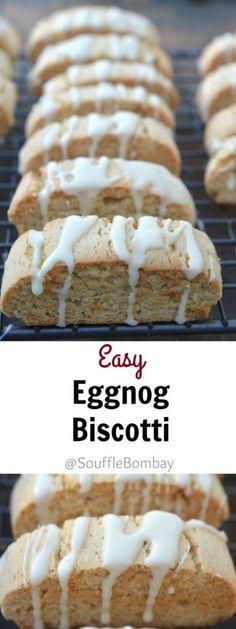 Easy Eggnog Biscotti with a Whiskey Eggnog Glaze, Recipe for Eggnog Biscotti with a Whiskey Glaze #SafeNog
