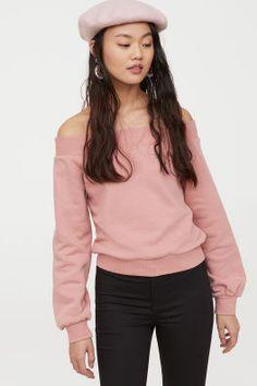 Off-the-shoulder Top - Vintage pink - Ladies Turtleneck Sweatshirt, Collared Sweatshirt, Hooded Sweater, Hoodie, Vintage Tops, Vintage Pink, Pink Lady, Going Out Tops, Cozy Fashion