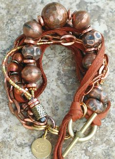 Rustic Copper, Brass and Leather Bracelet - Jewelry with soul - By Kelly Conedera XOGallery.com
