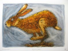 """""""Running Hare"""" by Ian MacCulloch (etching)"""