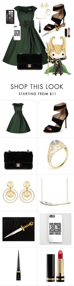 """Loki Laufeyson"" by kathryn-hope105 ❤ liked on Polyvore featuring Carvela, Chanel, Kenneth Jay Lane, Marvel, Christian Louboutin, Maybelline and Gucci"