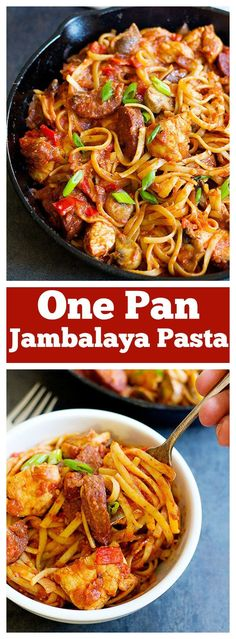 Have a warm bowl of One Pan Jambalaya Pasta any day of the year - this dish is full of flavors and takes less than an hour to come together. Add some shrimp to this! Jumbalaya Pasta, Jambalaya Pasta Recipe, Jumbalaya Recipe, Cajun Recipes, Pasta Recipes, Dinner Recipes, Cooking Recipes, Cajun Cooking, Seafood Recipes