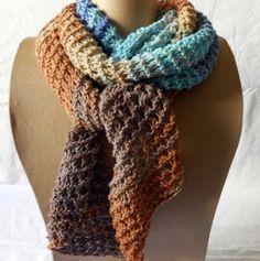 31653625152d Écharpe en coton bleue et marron tricotée main   Echarpe, foulard, cravate  par… Elodie · Mode et déco, couture a little market