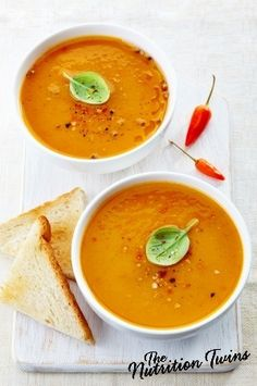 Roasted Butternut Squash Soup with Shallots & Ginger | Savory, Creamy, Healthy Comfort Food | For MORE RECIPES please SIGN UP for our FREE NEWSLETTER www.NutritionTwins.com