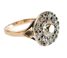 Early rose-cut and mine-cut diamond ring, mid 19th century