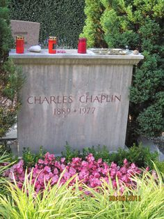 Charlie Chaplin's grave.  His body was stolen in 1978 and two men tried to have his widow pay a ransom, which she refused.  The coffin was found a few weeks later and reburied under concrete.