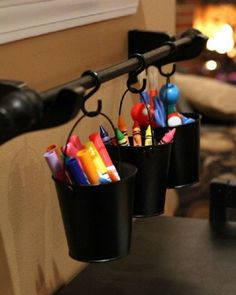 Great way to help the kiddies keep their art supplies and other things tidy, but still in reach.