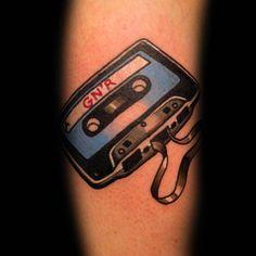 Old School Traditional Cassette Tape Leg Tattoo On Gentleman
