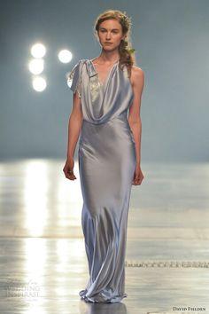 Amazing Steel Blue Satin Cowl Neck Bridal Gown by David Fielden Bridal 2014^^^^