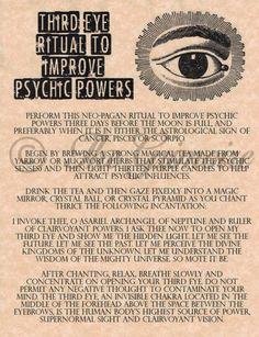 Eye Ritual To Improve Psychic Powers, Real Witchcraft Spell Book Of Shadows
