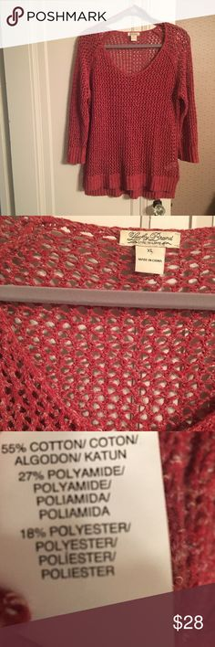 """Lucky open-stitch sweater Really pretty and great all year round! A rusty red orange color. Re-posh due to fit. Was listed as an """"oversized"""" fit but this XL fits more like a Large. Oversized at a Medium. My loss is your gain! In excellent condition. Lucky Brand Sweaters"""