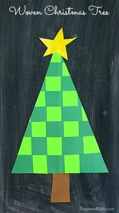 Christmas Crafts for Kids: Woven Paper Christmas Tree Craft~ BuggyandBuddy.com