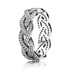 Authentic 925 Sterling Silver Ring Eternity Sparkling Braided Crystal Ring For Women Wedding Party Gift Fine Jewelry #Affiliate