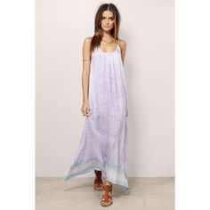 Tobi Boho Beauty Maxi Dress ($16) ❤ liked on Polyvore featuring dresses, lavender, bohemian dresses, high low maxi dress, maxi dresses, light purple maxi dress and pink dress