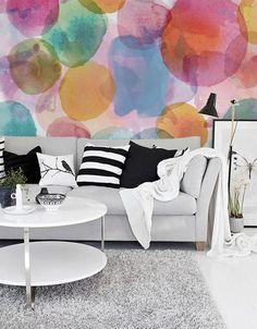 Watercolor Circle  Mural  Adhesive Wallpaper  by thinkimprint