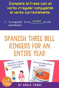 This #SpanishThreeBellWork Bundle has 319 PowerPoint slides, four online activities, an interactive notebook activity and one video activity and covers comparisons; vosotros; present tense; imperfect preterite; ser estar; reflexives; gerund; future; conditional; present perfect and much more. #SpanishImperfect #Pretérito Ap Spanish, Spanish Lessons, Math Lessons, Imperfect Spanish, Interactive Student Notebooks, 6th Grade Ela, Bell Work, Teaching Themes, Bell Ringers