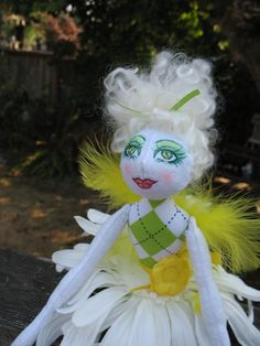 Image detail for -... flower fairy cloth art rag doll wearing lemon yellow and lime green