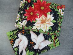 Mug Rugs Christmas Doves Holiday Poinsettias by PerfectStitches