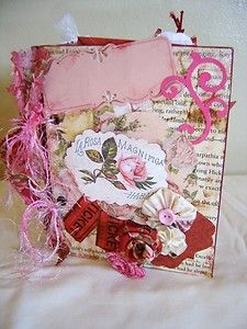 $SOLD ,just listed vintage rose/butterfly scrapbook album pre-made. repurposed covers from a hard cover book and paper bag pages.  please re-pin it for me