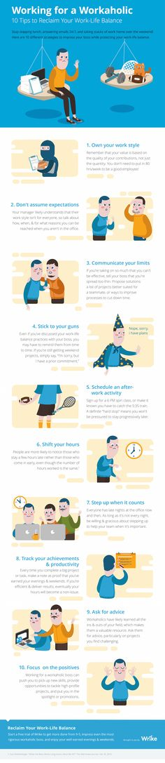 Working for a Workaholic: 10 Tips to Reclaim Your Work-Life Balance #Infographic #Management #WorkLifeBalance