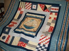 Nautical throw quilt signal flag quilt clipper by ExpressionQuilts, $259.00