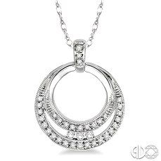 An elegant Diamond Circle Pendant crafted in gleaming 14 karat white gold dual circles that are arranged with 36 round cut diamonds in channel and pave setting. This fashionable pendant suspends from a rope chain. #CirclePendant #SwansonsDiamondCenter