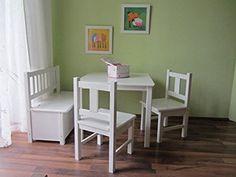 Best of JAM Kindersitzgruppe 1x Kindertisch 2x Kinderstuhl 1x Kindersitzbank mit…