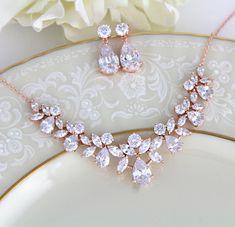 Rose gold necklace set Bridal jewelry set Rose Gold Bridal necklace and earring set Crystal drop earrings Rose Gold jewelry for wedding Wedding Jewelry For Bride, Bridal Jewelry Sets, Bridal Necklace, Necklace Set, Gold Necklace, Crystal Necklace, Wedding Bracelet, Rose Gold Jewelry, Rose Gold Earrings