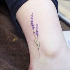 Lavender dainty tattoo by Sol Art (https://instagram.com/soltattoo/)
